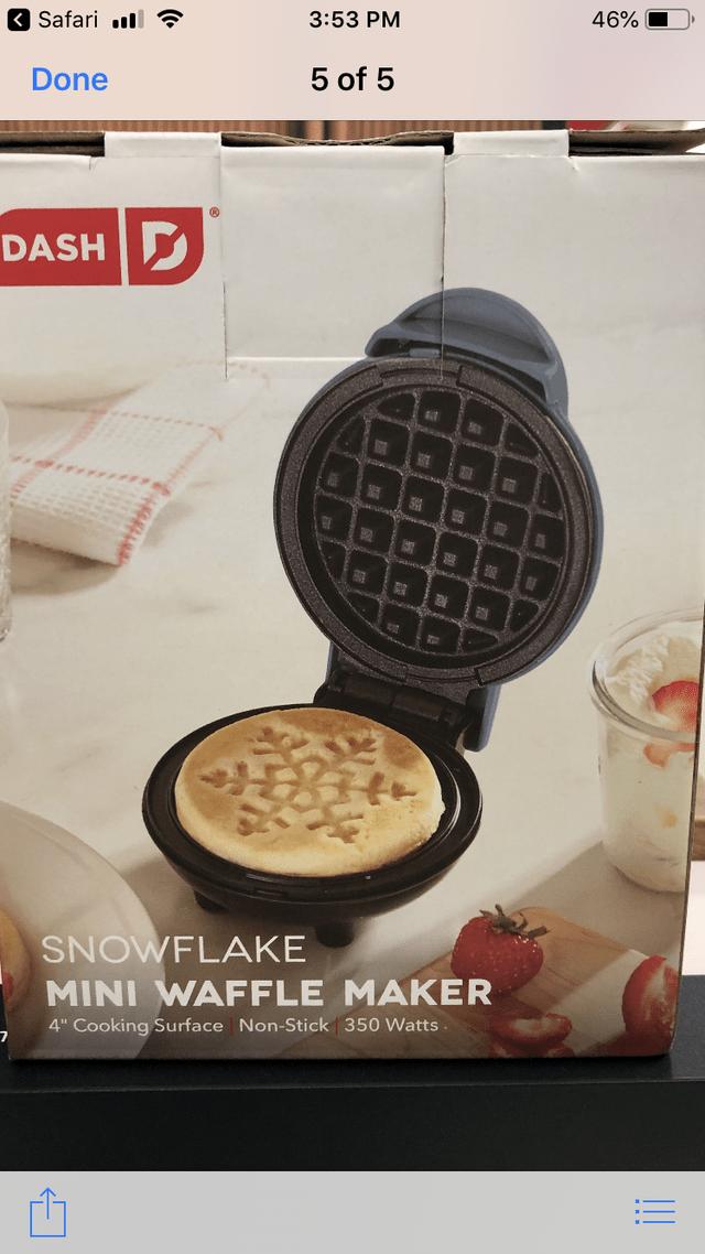 "Food - 46% 3:53 PM Safari ll 5 of 5 Done DASH HIOCK 561 120 SNOWFLAKE MINI WAFFLE MAKER 4"" Cooking Surface Non-Stick 350 Watts. !!"