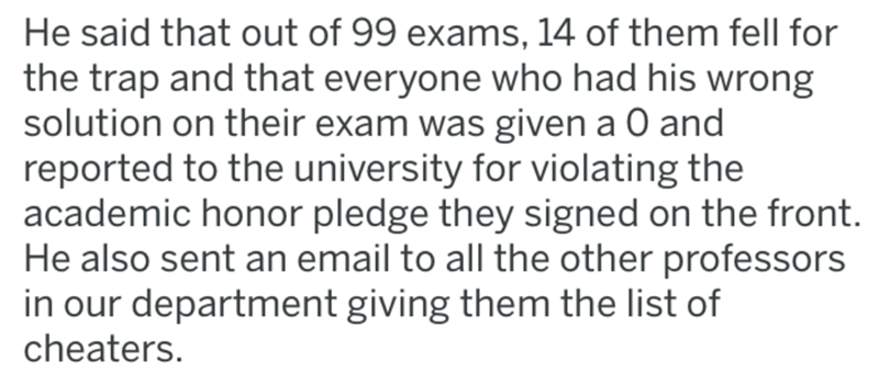 Text - He said that out of 99 exams, 14 of them fell for the trap and that everyone who had his wrong solution on their exam was given a 0 and reported to the university for violating the academic honor pledge they signed on the front. He also sent an email to all the other professors in our department giving them the list of cheaters.