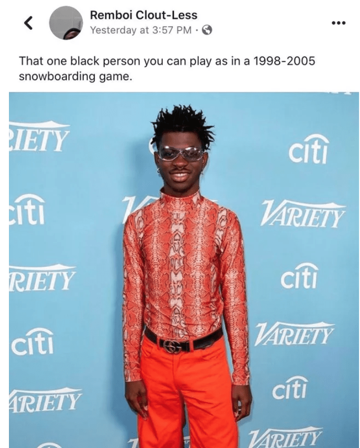 Hair - Remboi Clout-Less •. Yesterday at 3:57 PM · O That one black person you can play as in a 1998-2005 snowboarding game. IETY citi iti VARIETY cíti RIETY ИRIETY citi cíti ARIETY VARIETY
