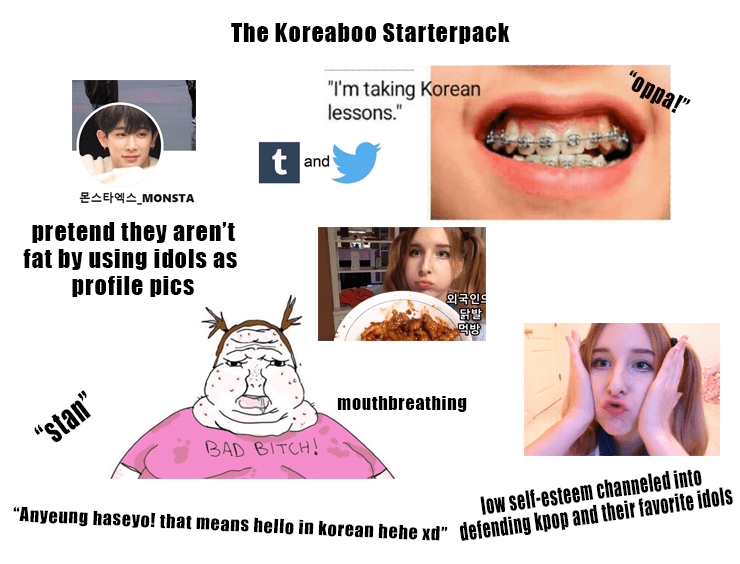 """Face - The Koreaboo Starterpack """"oppa!"""" """"I'm taking Korean lessons."""" t and 몬스타엑스_MONSTA pretend they aren't fat by using idols as profile pics 외국인의 닭발 mouthbreathing """"stan"""" BAD BITCH! """"Anyeung haseyo! that means hello in korean hehe xd"""" defending kpop and their favorite idols low self-esteem channeled into"""