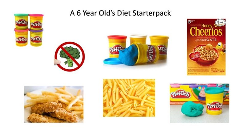 Junk food - A 6 Year Old's Diet Starterpack PEY DO PYDe ipack Honey, No Cheerios ERMOATS, PlayD YDo LOWER DILSTER PlaYDo) Play-Da