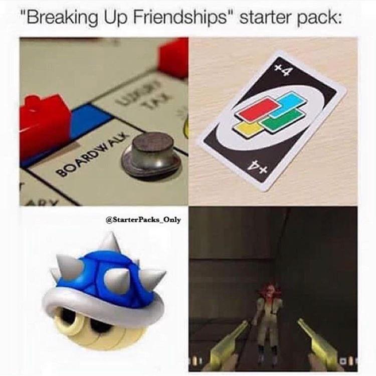 "Font - ""Breaking Up Friendships"" starter pack: TAX BOARDWAL @StarterPacks Only +4"