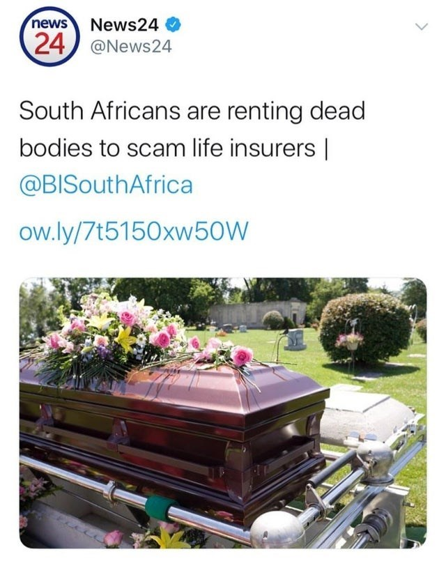 Plant - news News24 O 24) @News24 South Africans are renting dead bodies to scam life insurers | @BISouthAfrica ow.ly/7t5150xw50W