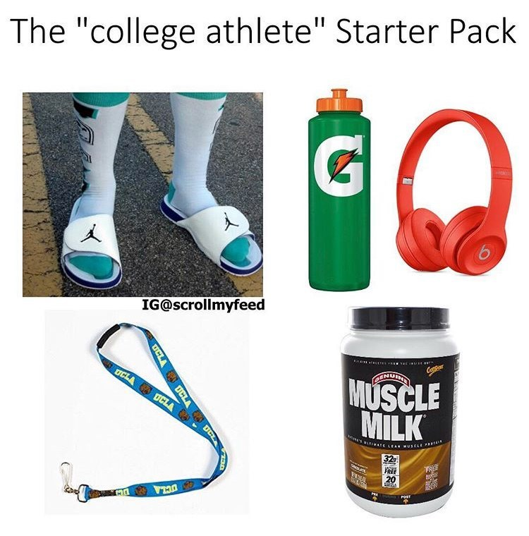 "Water bottle - The ""college athlete"" Starter Pack IG@scrollmyfeed Capm ENUIN OCLA O UCLA MUSCLE MILK ATE LEAN wUSCLE Pr 32 FREE 20 POST OCLA UCLA DCL"