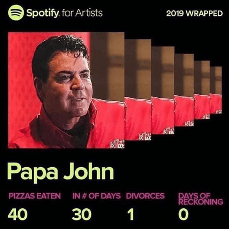 Funny spotify wrapped meme about papa john's pizza