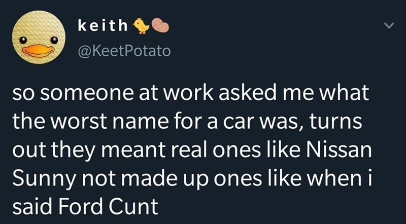 Text - Text - keith @KeetPotato SO someone at work asked me what the worst name for a car was, turns out they meant real ones like Nissan Sunny not made up ones like when i said Ford Cunt