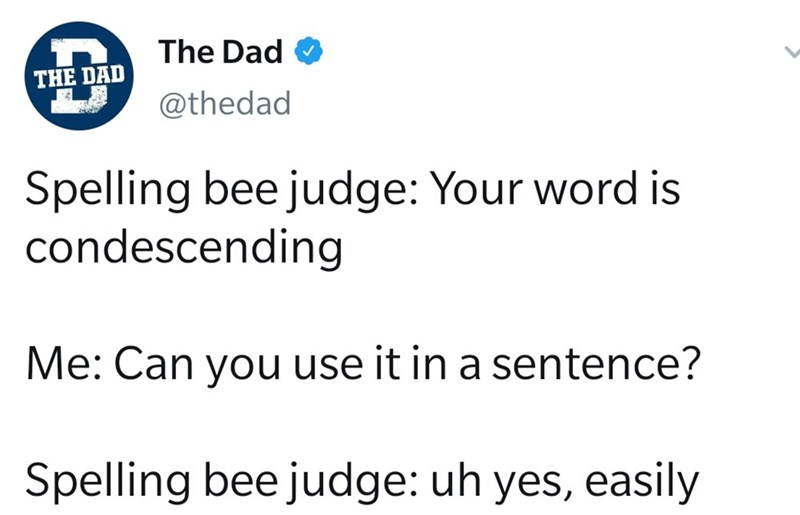 Text - Text - The Dad O THE DAD @thedad Spelling bee judge: Your word is condescending Me: Can you use it in a sentence? Spelling bee judge: uh yes, easily