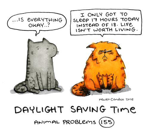 Cartoon - I ONLY GOT TO SLeep 17 HOURS TODAY INSTEAD OF 18. LIFE ISN'T WORTH LIVING. ...Is everyTHING OKAY..? Hewer-Candee zo16 DAYLIGHT SAVING TIme ANIMAL PROBLEMS (155