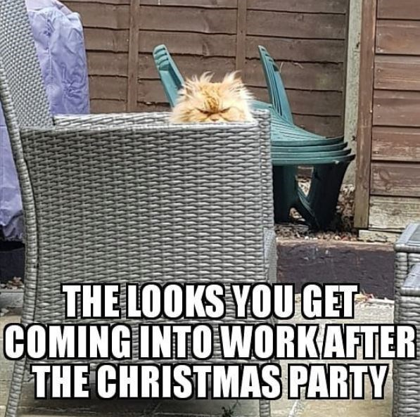 Photo caption - THE LOOKS YOU GET COMING INTO WORKAFTER THE CHRISTMAS PARTY