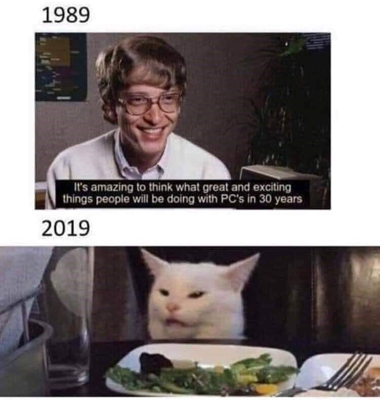 Cat - 1989 It's amazing to think what great and exciting things people will be doing with PC's in 30 years 2019