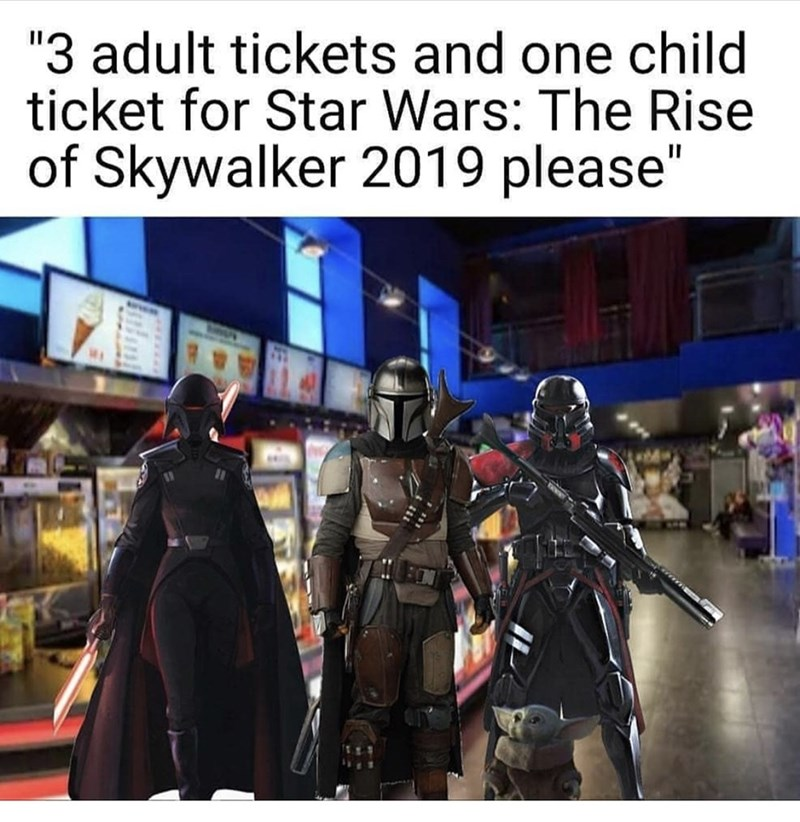 "Fictional character - ""3 adult tickets and one child ticket for Star Wars: The Rise of Skywalker 2019 please"""