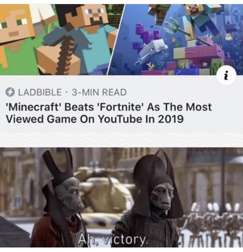Photography - i LADBIBLE · 3-MIN READ 'Minecraft' Beats 'Fortnite' As The Most Viewed Game On YouTube In 2019 Ah, victory.