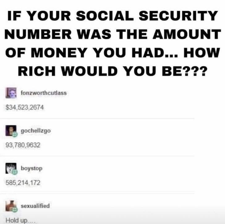 Text - IF YOUR S OCIAL SECURITY NUMBER WAS THE AMOUNT OF MONEY YOU HAD... HOW RICH WOULD YOU BE??? fonzworthcutlass $34,523,2674 gochellzgo 93,780,9632 boystop 585,214,172 sexualified Hold up.