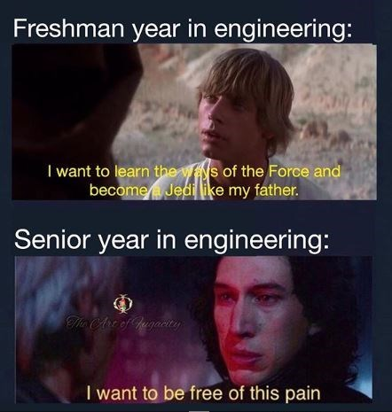 Text - Freshman year in engineering: I want to learn the ws of the Force and become Jedi like my father. Senior year in engineering: The CAre of Jugacity I want to be free of this pain
