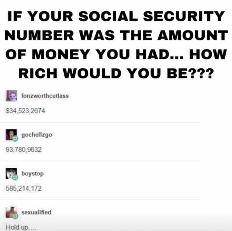 Text - IF YOUR S OCIAL SECURITY NUMBER WAS THE AMOUNT OF MONEY YOU HAD... HOW RICH WOULD YOU BE??? fonzworthcutlass $34,523,2674 gochellzgo 93,780,9632 boystop 585,214,172 sexualified Hold up...
