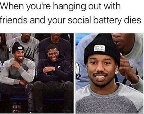 Photo caption - When you're hanging out with friends and your social battery dies