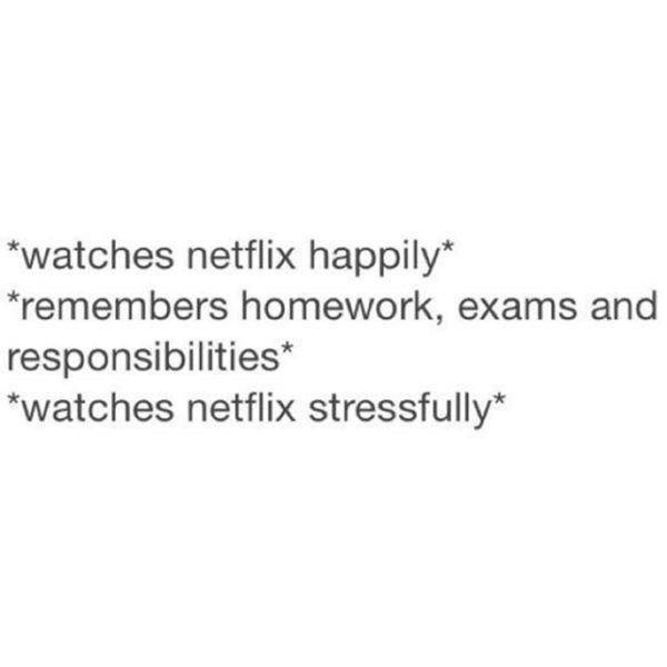 Text - *watches netflix happily* *remembers homework, exams and responsibilities* *watches netflix stressfully*
