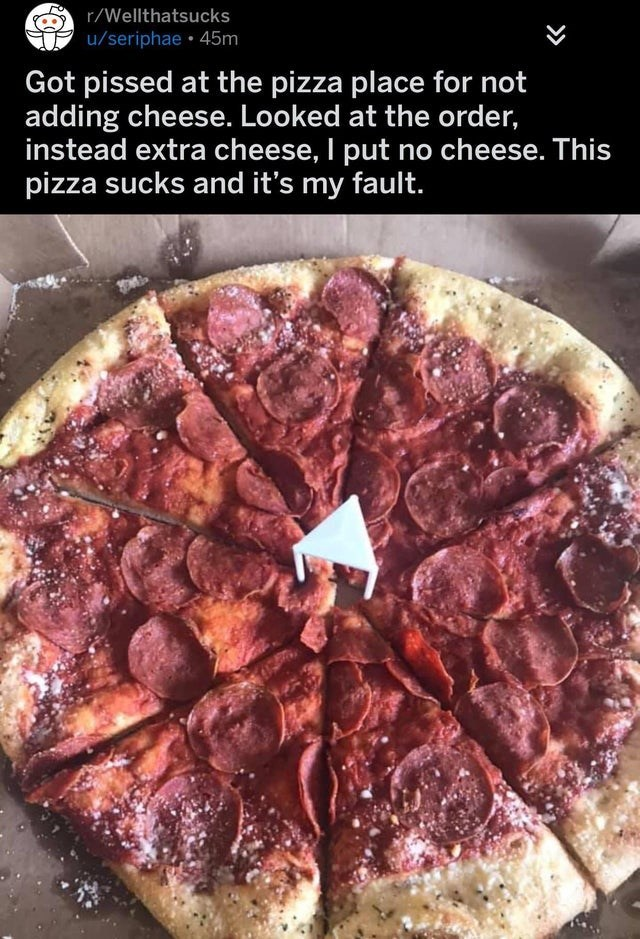 Dish - r/Wellthatsucks u/seriphae • 45m Got pissed at the pizza place for not adding cheese. Looked at the order, instead extra cheese, I put no cheese. This pizza sucks and it's my fault.
