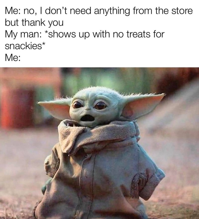 Yoda - Me: no, I don't need anything from the store but thank you My man: *shows up with no treats for snackies* Me: