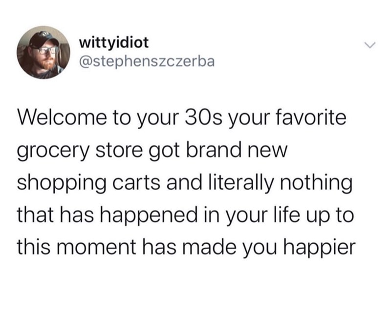 Text - wittyidiot @stephenszczerba Welcome to your 30s your favorite grocery store got brand new shopping carts and literally nothing that has happened in your life up to this moment has made you happier