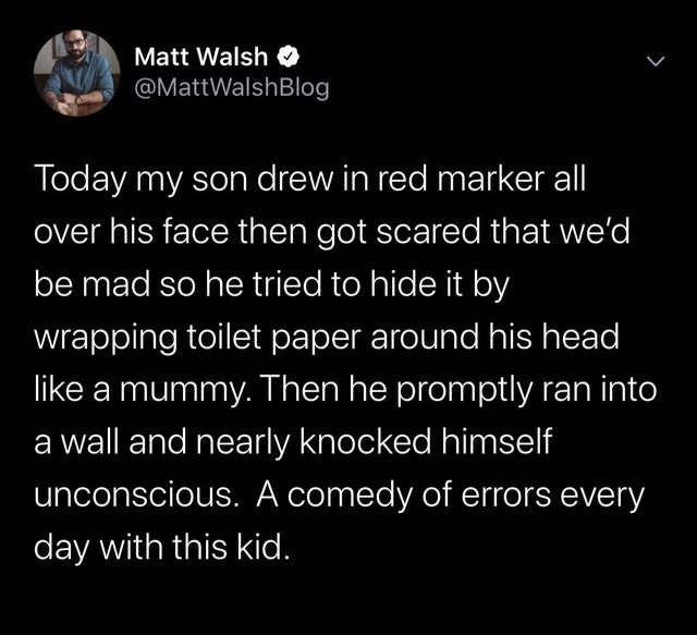 Text - Matt Walsh O @MattWalshBlog Today my son drew in red marker all over his face then got scared that we'd be mad so he tried to hide it by wrapping toilet paper around his head like a mummy. Then he promptly ran into a wall and nearly knocked himself unconscious. A comedy of errors every day with this kid.