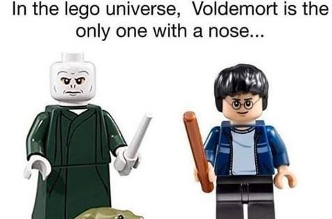 Cartoon - In the lego universe, Voldemort is the only one with a nose...