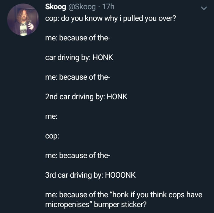 """Text - Skoog @Skoog ·17h cop: do you know why i pulled you over? me: because of the- car driving by: HONK me: because of the- 2nd car driving by: HONK me: cop: me: because of the- 3rd car driving by: HOOONK me: because of the """"honk if you think cops have micropenises"""" bumper sticker?"""
