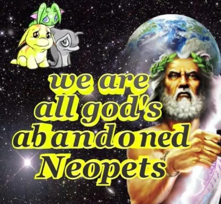 Text - we are allgod's abandoned Neopets