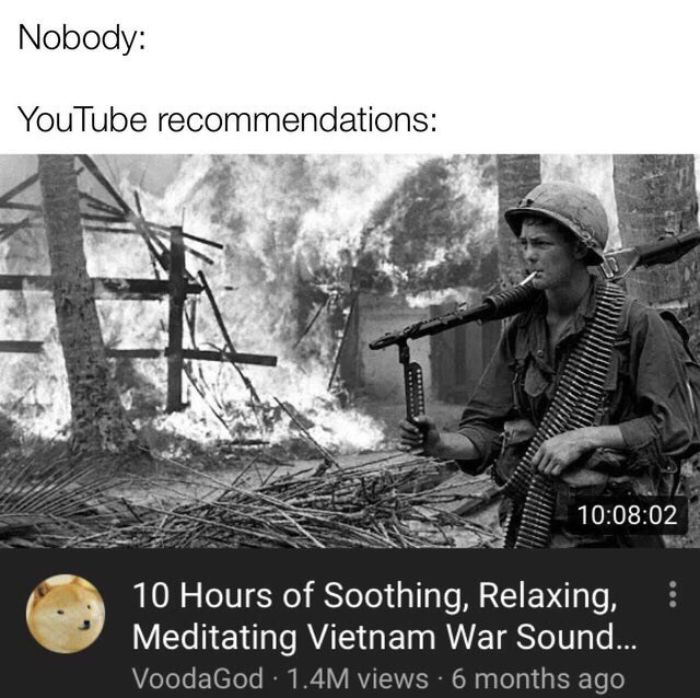 Adaptation - Nobody: YouTube recommendations: 10:08:02 10 Hours of Soothing, Relaxing, Meditating Vietnam War Sound... VoodaGod · 1.4M views · 6 months ago