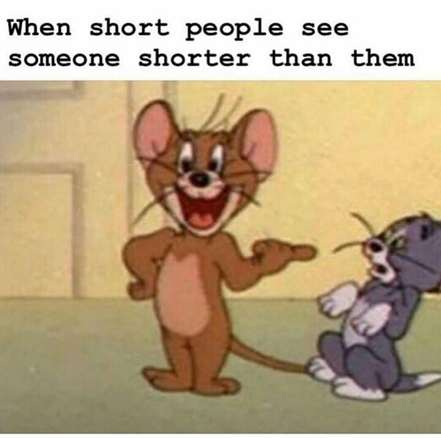 funny meme about tom and jerry, short people when they see someone shorter than them