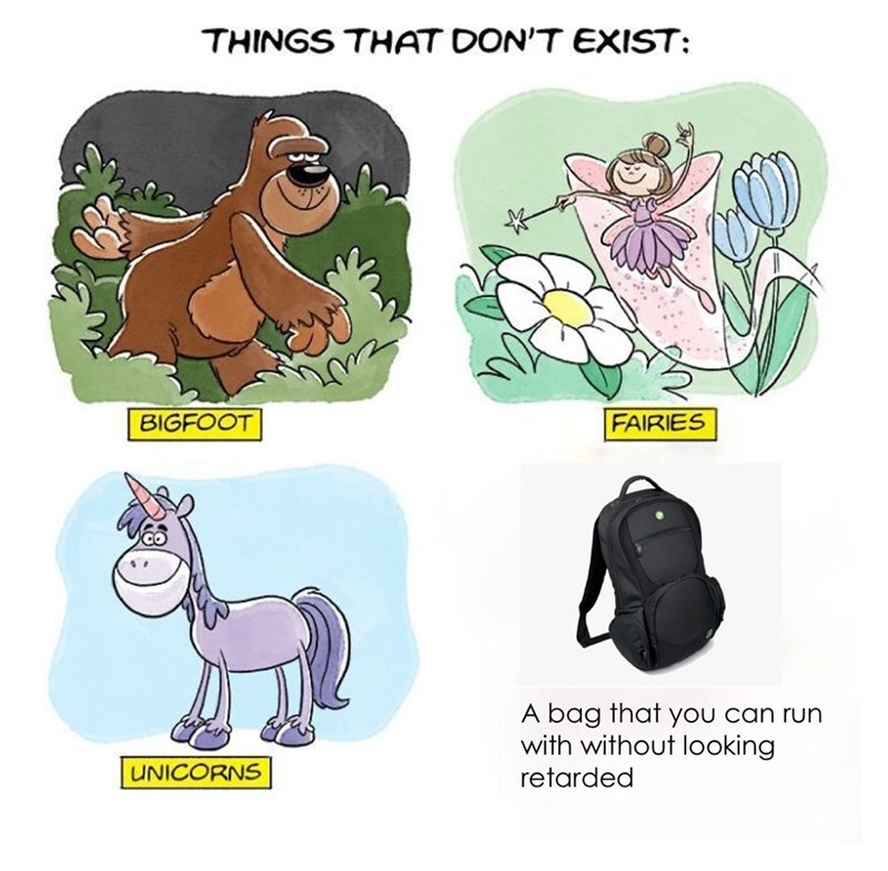 Cartoon - THINGS THAT DON'T EXIST: BIGFOOT FAIRIES A bag that you can run with without looking UNICORNS retarded