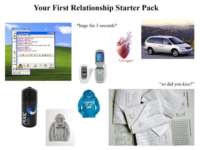 """Product - Your First Relationship Starter Pack *hugs for 3 seconds* K es Saltae pri kaan you v de Kierbear Tllderet tcoo AB AA B/ MRAR *135 bpm"""" """"so did you kiss?"""" Asonstele tor jen (privatel) OLLISTER M AO TALE y! tapnt) ЭХУ"""