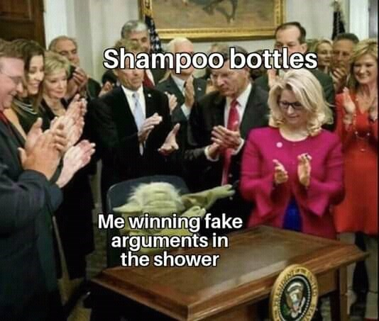 People - Shampoo bottles Me winning fake arguments in the shower