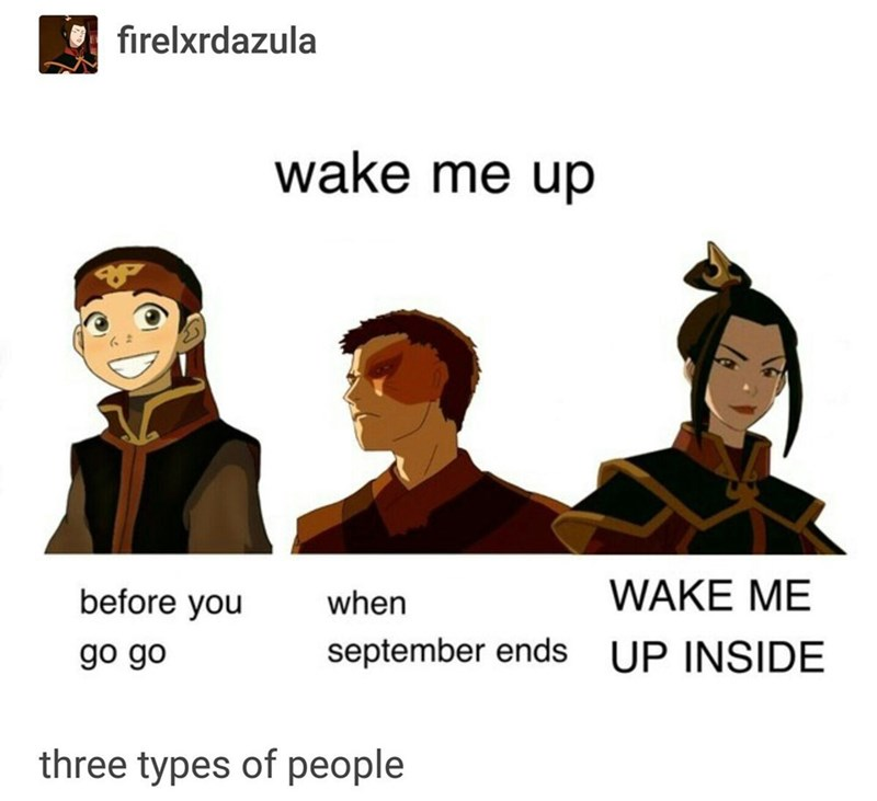 Cartoon - O firelxrdazula wake me up WAKE ME before you when september ends UP INSIDE go go three types of people