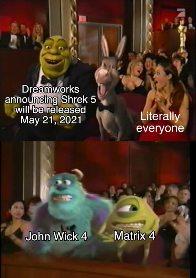 Cartoon - Dreamworks announcing Shrek 5 will be released May 21, 2021 Literally everyone Matrix 4 John Wick 4