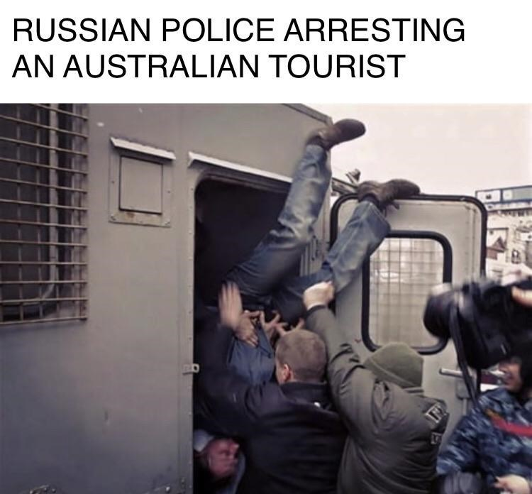Transport - RUSSIAN POLICE ARRESTING AN AUSTRALIAN TOURIST