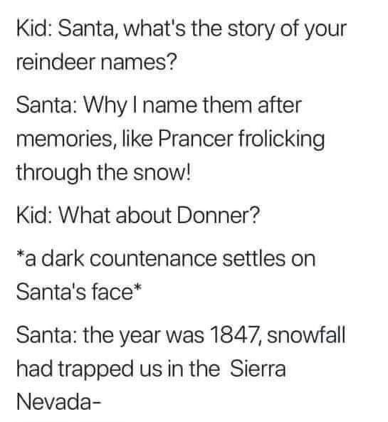 Text - Kid: Santa, what's the story of your reindeer names? Santa: Why I name them after memories, like Prancer frolicking through the snow! Kid: What about Donner? *a dark countenance settles on Santa's face* Santa: the year was 1847, snowfall had trapped us in the Sierra Nevada-