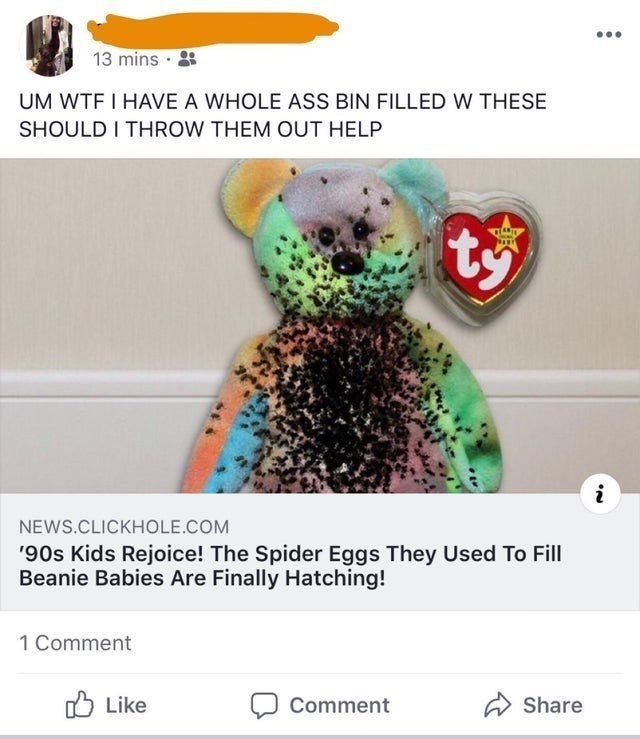 Organism - 13 mins · UM WTF I HAVE A WHOLE ASS BIN FILLED W THESE SHOULD I THROW THEM OUT HELP ty NEWS.CLICKHOLE.COM '90s Kids Rejoice! The Spider Eggs They Used To Fill Beanie Babies Are Finally Hatching! 1 Comment O Like A Share Comment