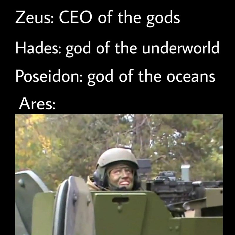 Text - Zeus: CEO of the gods Hades: god of the underworld Poseidon: god of the oceans Ares: