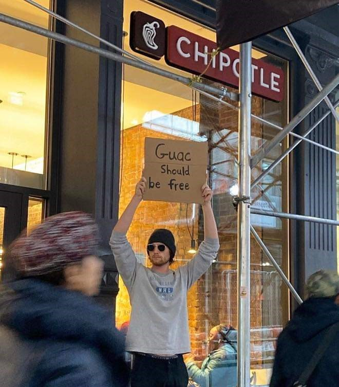 Signage - E CHIPCTLE Guac Should be free NHL