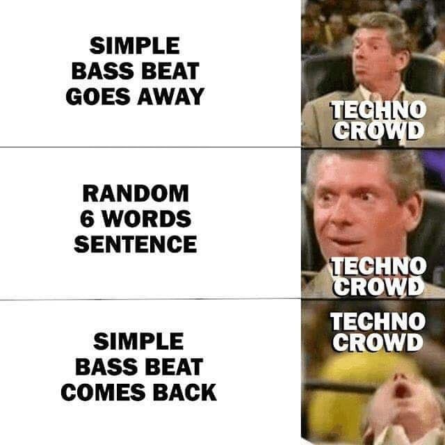 Facial expression - SIMPLE BASS BEAT GOES AWAY TECHNO CROWD RANDOM 6 WORDS SENTENCE TECHNO CROWD TECHNO CROWD SIMPLE BASS BEAT COMES BACK