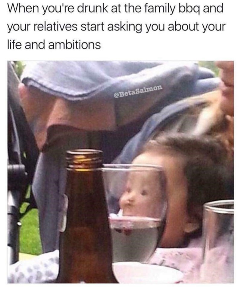 Product - When you're drunk at the family bbq and your relatives start asking you about your life and ambitions @BetaSalmon