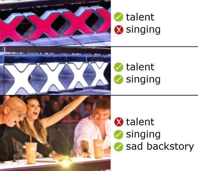 Text - talent O singing XXX ) talent O singing O talent O singing sad backstory