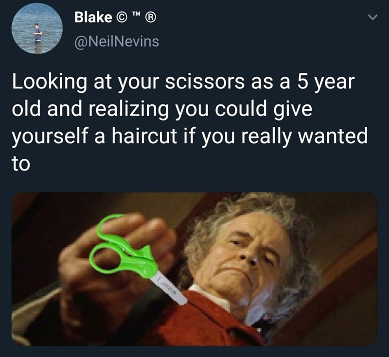 Text - Blake © TM @NeilNevins Looking at your scissors as a 5 year old and realizing you could give yourself a haircut if you really wanted to