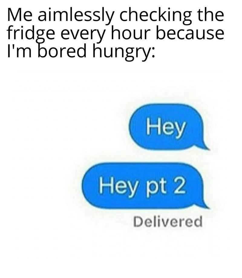 Text - Me aimlessly checking the fridge every hour because I'm bored hungry: Нey Hey pt 2 Delivered