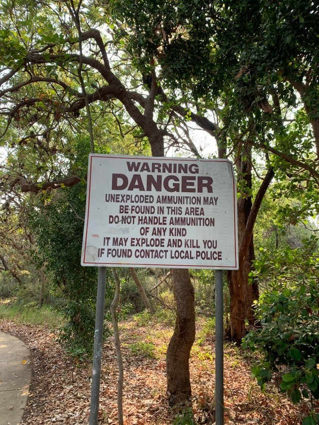 Nature reserve - WARNING DANGER UNEXPLODED AMMUNITION MAY BE FOUND IN THIS AREA DO NOT HANDLE AMMUNITION OF ANY KIND IT MAY EXPLODE AND KILL YOU IF FOUND CONTACT LOCAL POLICE