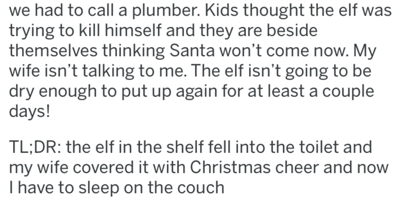 Text - we had to call a plumber. Kids thought the elf was trying to kill himself and they are beside themselves thinking Santa won't come now. My wife isn't talking to me. The elf isn't going to be dry enough to put up again for at least a couple days! TL;DR: the elf in the shelf fell into the toilet and my wife covered it with Christmas cheer and now I have to sleep on the couch
