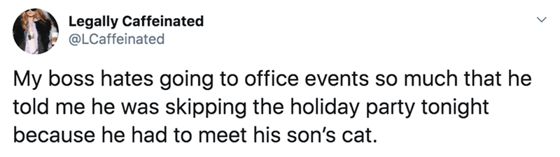 Text - Legally Caffeinated @LCaffeinated My boss hates going to office events so much that he told me he was skipping the holiday party tonight because he had to meet his son's cat.