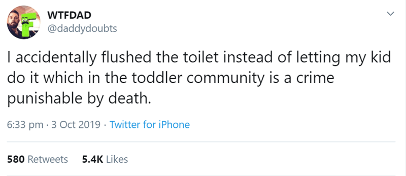Text - WTFDAD @daddydoubts I accidentally flushed the toilet instead of letting my kid do it which in the toddler community is a crime punishable by death. 6:33 pm · 3 Oct 2019 · Twitter for iPhone 580 Retweets 5.4K Likes