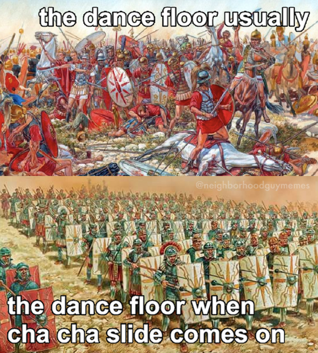 History - the dance floor usually @neighborhoodguymemes the dance floor when cha cha slide comes on